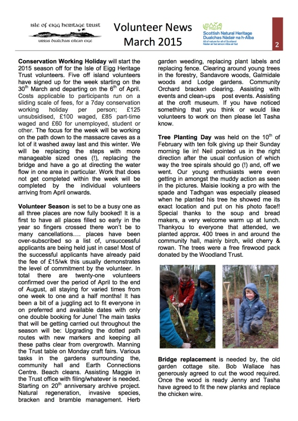 March Vol newsletter 2015